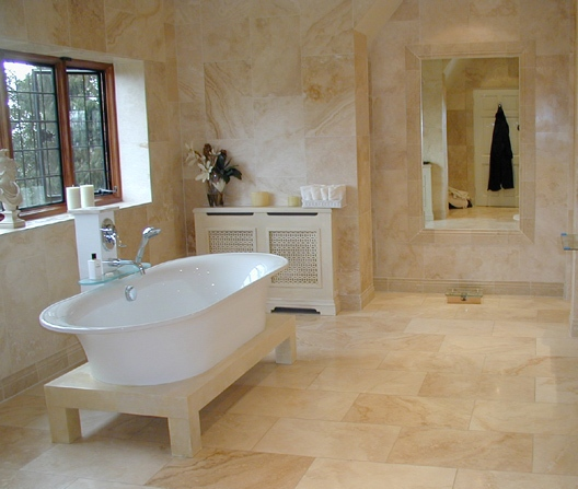 Bathroom with Travertine Walls and Floors