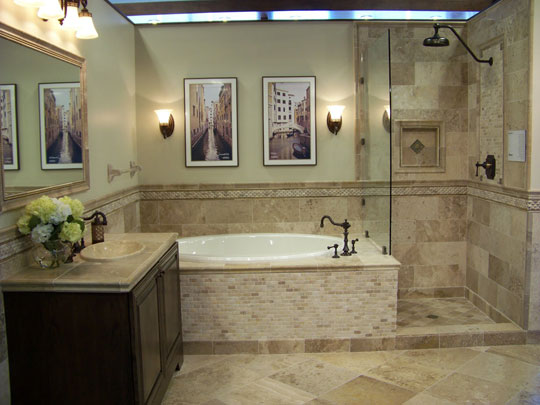 Bathroom with Travertine Flooring and Wall Accents